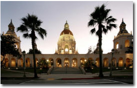 pasadena city hall at nite